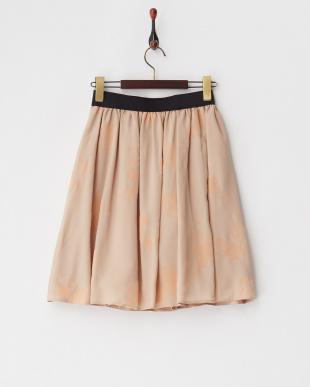 ベージュ ウエストゴムフロッキーギャザースカート見る