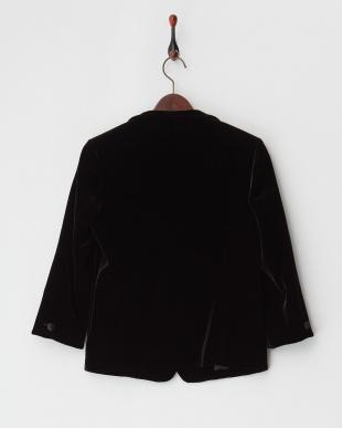 ブラック シルク混ストレッチベルベット ジャケット見る