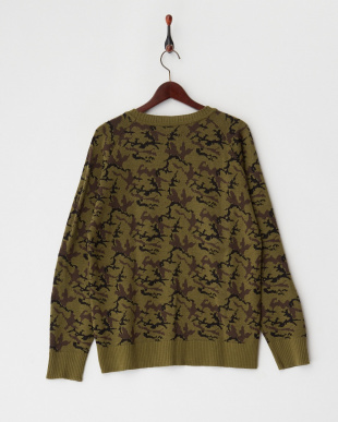 olive カモフラージュ柄セーター見る