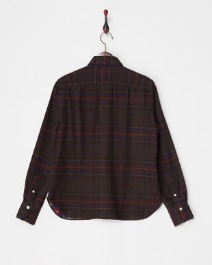 brown チェックシャツ見る