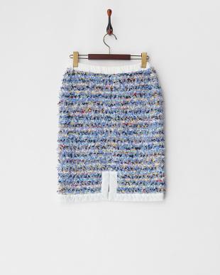 lt.blue ミックスツイードスカート見る