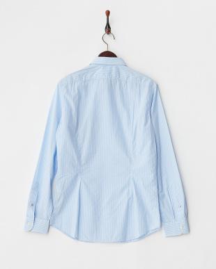 水色 ストライプ柄ポケットソリッドシャツ見る
