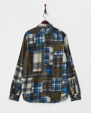 ブルー crazy pattern チェック柄ネルシャツ見る