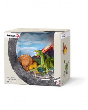 トリケラトプスとテリジノサウルス(小)見る