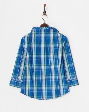 ブルー  チェック フリルネックシャツ見る