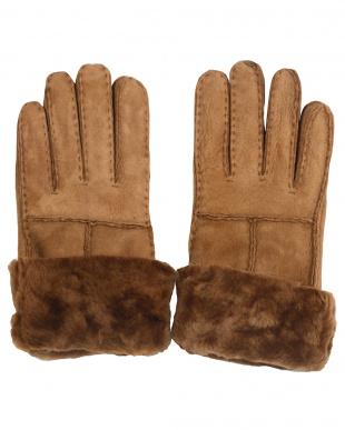 キャメル  ムートン 手袋見る