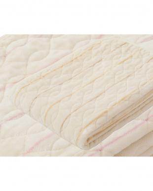 ピンク  ストライプ柄 シール織綿ボアパッドシーツ シングル見る