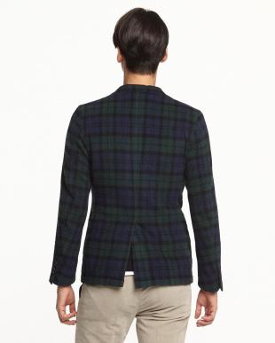 ブラックウォッチ 3つボタン紡毛ジャケット見る