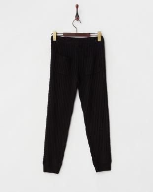 BLACK  サイド縄編みアンゴラウール混リブ編みパンツ見る