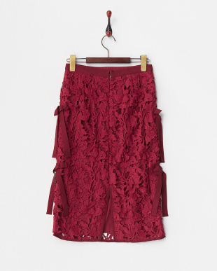 ピンク  レースサイドリボンタイトスカート見る
