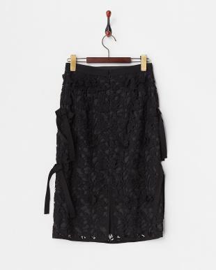 ブラック  レースサイドリボンタイトスカート見る