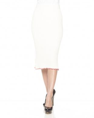 オフホワイト 配色メローリブニットスカート見る
