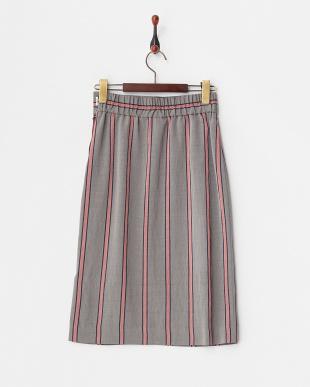 グレー  MANTECOストライプタイトスカート見る