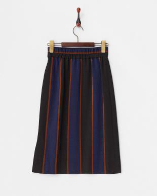 ネイビー  MANTECOストライプタイトスカート見る