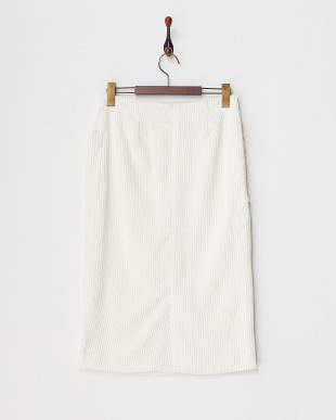 オフホワイト  コーデュロイタイトスカート見る