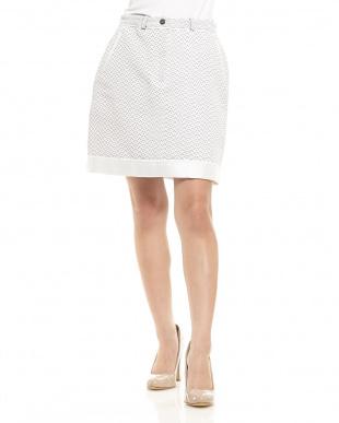 WHITE/NAVY パイピング ツイード台形スカート見る