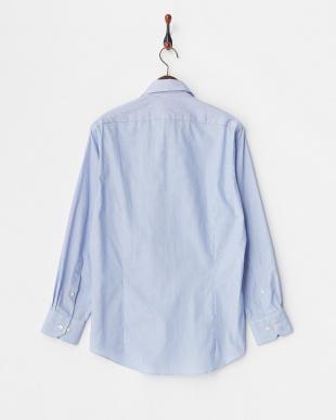 ブルー系2 ストライプ柄 長袖ボタンダウンワイシャツ見る