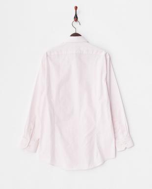 ピンク系 ブロード調 長袖ボタンダウンワイシャツ見る