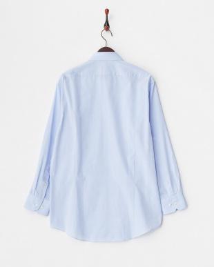 ブルー系 ブロード調 長袖ワイドカラーワイシャツ見る