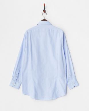 ブルー系 ロイヤルオックスフォード調 長袖ワイドカラーワイシャツ見る