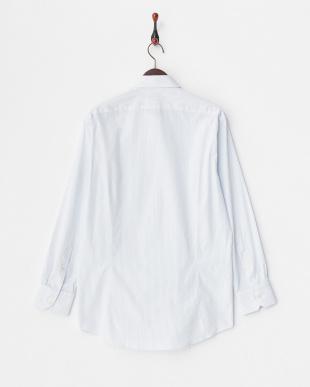 ブルー系 ストライプ柄 長袖ワイドカラーワイシャツ見る