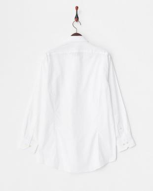 ホワイト系 ブロード調 長袖ワイドカラーワイシャツ見る
