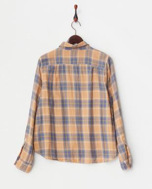 オレンジ  綿麻チェックシャツ見る