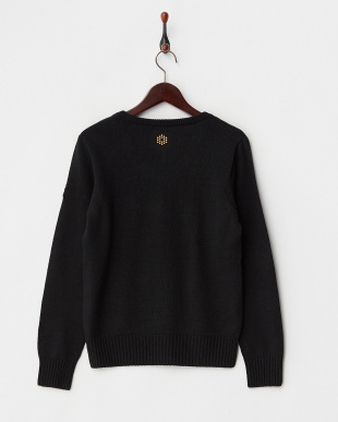 BLACK  ウール混ニットVネックセーター見る