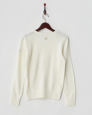 WHITE  ウール混ニットVネックセーター見る