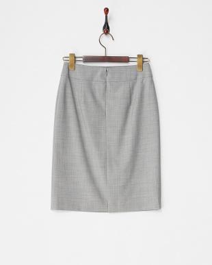 ライトグレー  ウール混ストレッチタイトスカート見る