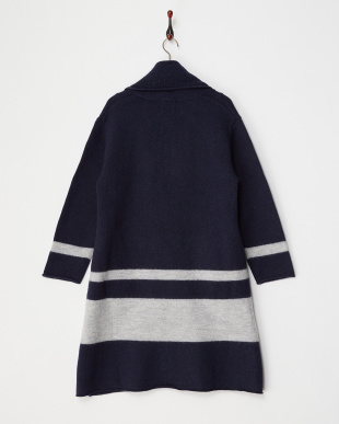 NAVY  FELTED WOOL KNIT COAT見る