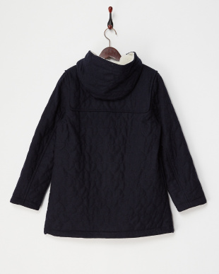 NAVY  HEART QUILTED DUFFLE COAT見る
