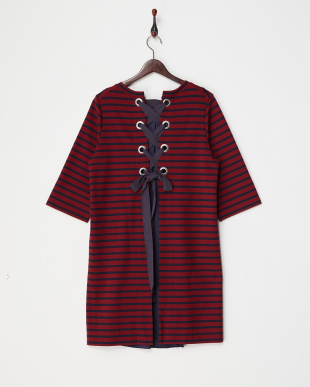 BURGUNDY  BACK RIBBON DRESS見る