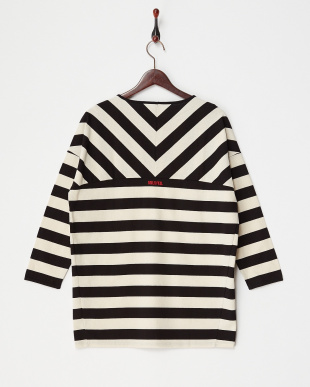 WHITE  CROSS STRIPED TOP見る