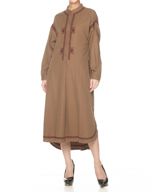 BROWN  EMBROIDERED DRESS見る