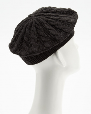 ブラック  HY ケーブル編みニットベレー帽|GIRL見る