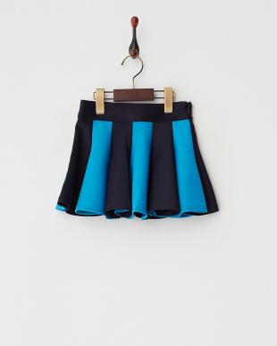 ネイビー  バイカラーフレアスカート|GIRL見る