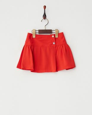 レッド  ギャザープリーツスカート|GIRL見る