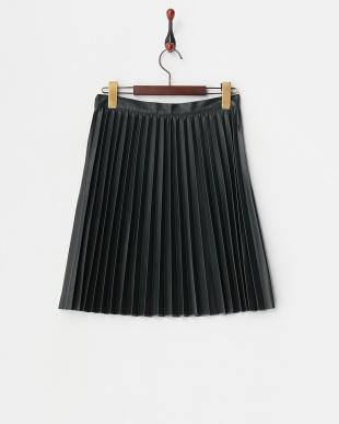 ダークグリーン  フェイクレザープリーツスカート見る