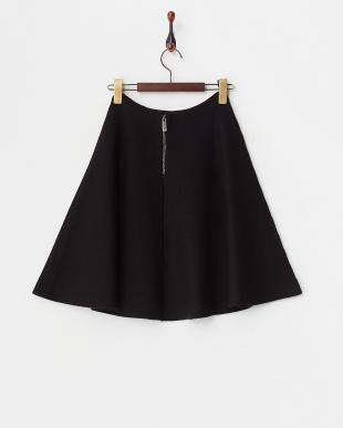 ブラック ニットフレアスカート見る