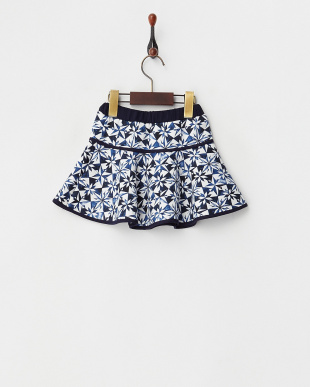 シロ×ネイビー プリント柄スカート見る