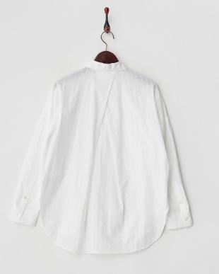 ホワイト カラミストライプリフォーメーションシャツ見る
