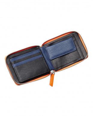 オレンジ  オーストリッチラウンドファスナー折り財布見る