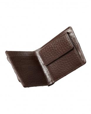 ダークブラウン  クロコダイル小銭入れ付き2ツ折り財布見る