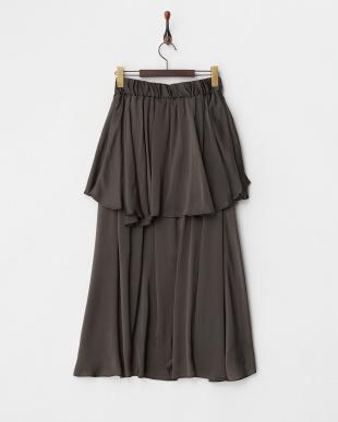 ブラウン レイヤードロングスカート見る