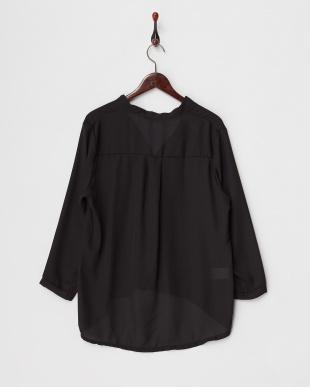 ブラック  とろみプルオーバーシャツ見る