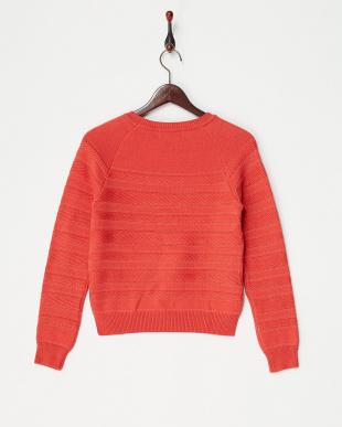 レッド  編み柄ボーダーニット見る