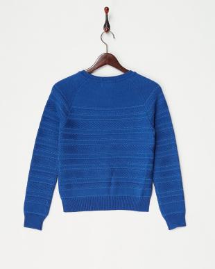 ブルー  編み柄ボーダーニット見る
