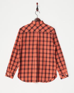 オレンジ系  ギザシャドーチェック2WAYシャツ見る