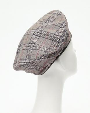 グレー×レッド  スタンドタイプ フラットチェックベレー帽見る